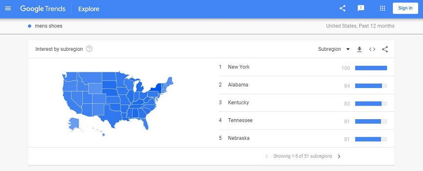 Google Trends - Results By Locality