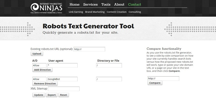 Marketing Ninjas - Robots File Generator