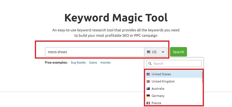 SEMrush keyword magic tool - select country
