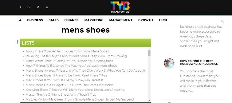 TYB - Mens SHoes Results
