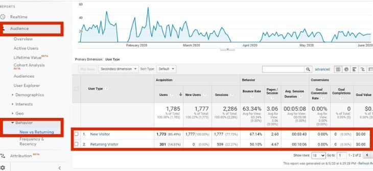 Google Analytics - new vs returning with graph & digits
