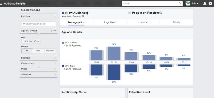 Facebook Insights - target audience examples