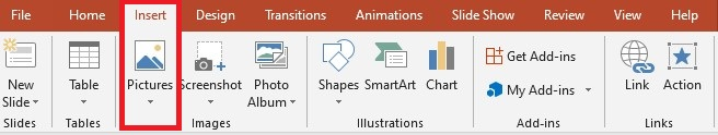 PowerPoint image compress - insert image