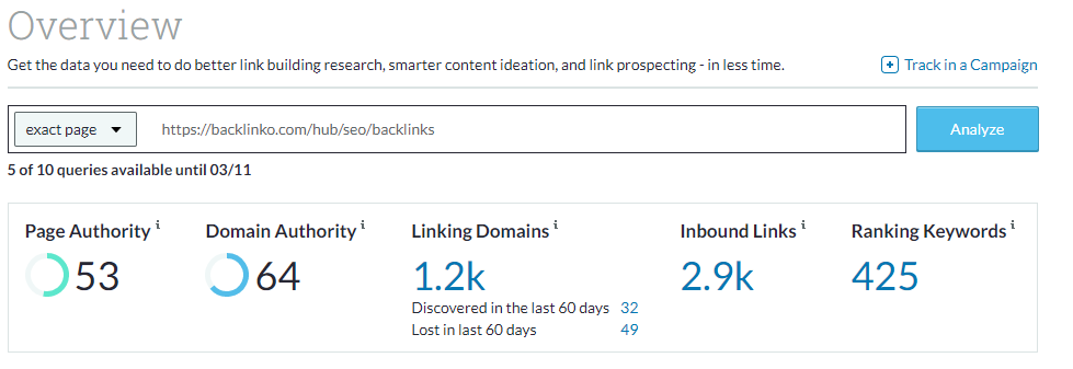 Domain Overview - Backlinks