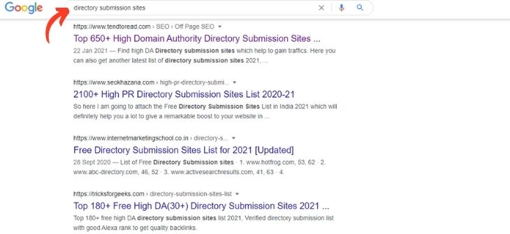 Google Search - Directory Submission Sites